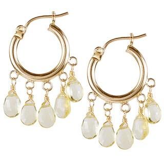 14k Yellow Gold Pear-cut Citrine Hoop Earrings