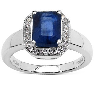 Olivia Leone 2.63 Carat Glass Filled Sapphire and White Topaz .925 Sterling Silver Ring