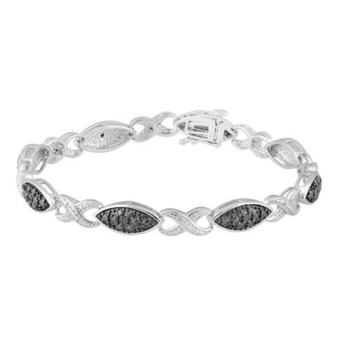 Divina Sterling Silver 1/5ct TDW Black and White Diamond Link Bracelet