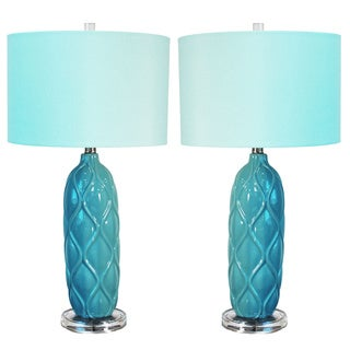 Casa Cortes Capri 3-Way Switch 26-inch Ceramic Table Lamp (Set of 2)
