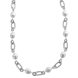 Pearls For You Sterling Silver White Freshwater Pearl Link Necklace (9-9.5 mm)