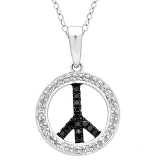 Divina Sterling Silver 1/4 ct Diamond Religious Peace Pendant