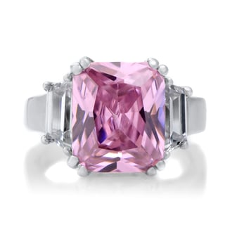 Sterling Silver Emerald-cut Pink Cubic Zirconia Engagement Ring