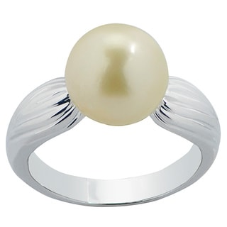 Pearls For You Sterling Silver Golden South Sea Pearl Ring (10-11 mm)