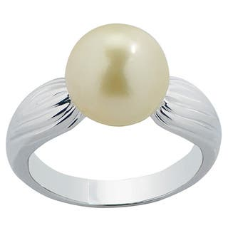 Pearls For You Sterling Silver Golden South Sea Pearl Ring (10-11 mm)|https://ak1.ostkcdn.com/images/products/9991738/P17141908.jpg?impolicy=medium