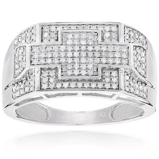 Luxurman 10k White Gold Men's 1/2ct TDW Diamond Pinky Ring (H-I, SI1-SI2)