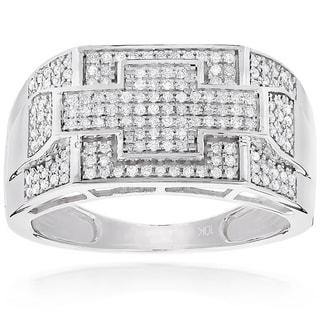 Luxurman 10k White Gold Men's 1/2ct TDW Diamond Pinky Ring