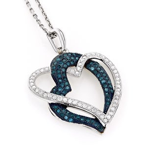 Luxurman 10k White Gold 3/5ct TDW White and Blue Diamond Heart Necklace (H-I, SI1-SI2)