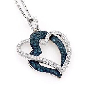 Luxurman 10k White Gold 3/5ct TDW White and Blue Diamond Heart Necklace