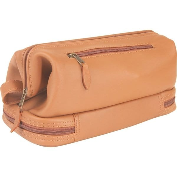 6be7b8307e Royce Leather Toiletry Travel Wash Bag with Zippered Bottom Compartment