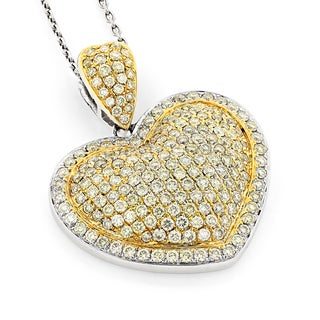 Luxurman 14k White Gold 2ct TDW Diamond Pave Heart Necklace (H-I, SI1-SI2)