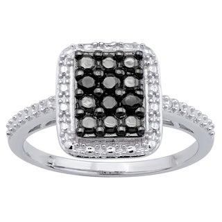 Divina Sterling Silver1/6ct TDW Black Diamond Fashion Ring