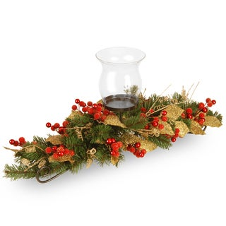 Berry / Leaf Vine 30-inch 1-candle Holder with Glass Cup