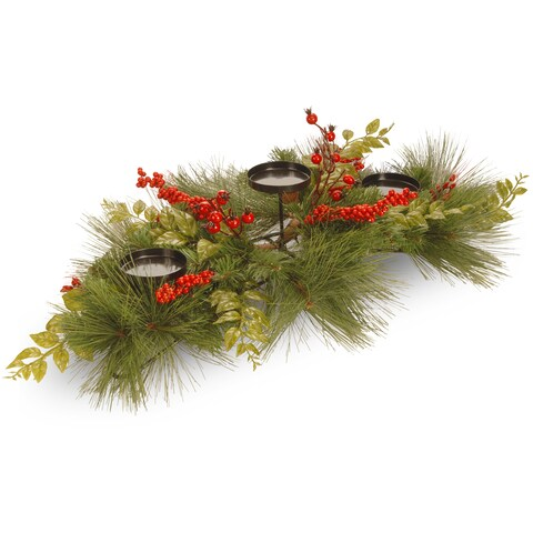 Mixed Bristle Pine 30-inch 3-candle Holder and Red Berries/ Cones