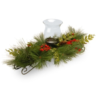 Mixed Bristle Pine 30-inch 1-candle Holder with Glass Cup and Red Berries/ Cones