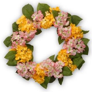 Yellow/Pink Hydrangea 24-inch Wreath
