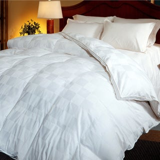 Hotel Grand Euro Check 550 Thread Count Hungarian White Goose Down Comforter
