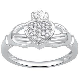 Divina Sterling Silver 1/8ct TDW Diamond Claddagh Ring (H-I ,I3)