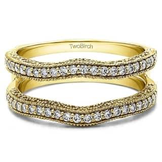 TwoBirch 1/4ct TDW Diamond Milgrain Double Band Ring|https://ak1.ostkcdn.com/images/products/9991879/P17142029.jpg?impolicy=medium