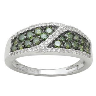 Divina 10k White Gold 8/10ct TDW Green Pave Diamond Ring (H-I, I-3)