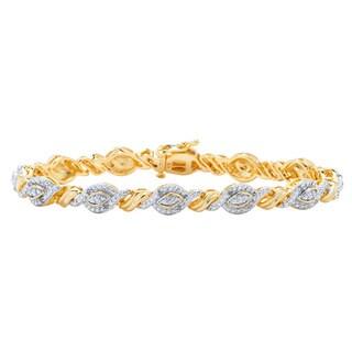 Divina 14kt Gold Over Brass 1/4 ct Diamond Fashion Bracelet