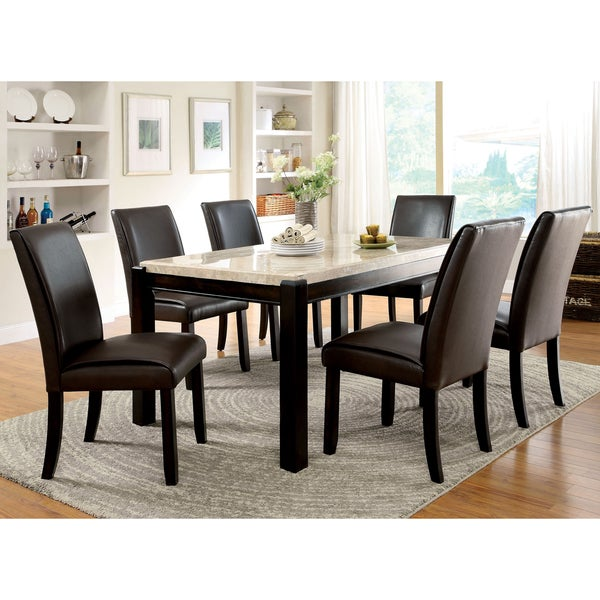 Overstock Dining Set: Shop Furniture Of America Joreth 7-piece Dark Walnut