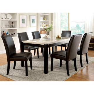 Furniture Of America Joreth 7 Piece Dark Walnut Dining Set With Genuine  Marble