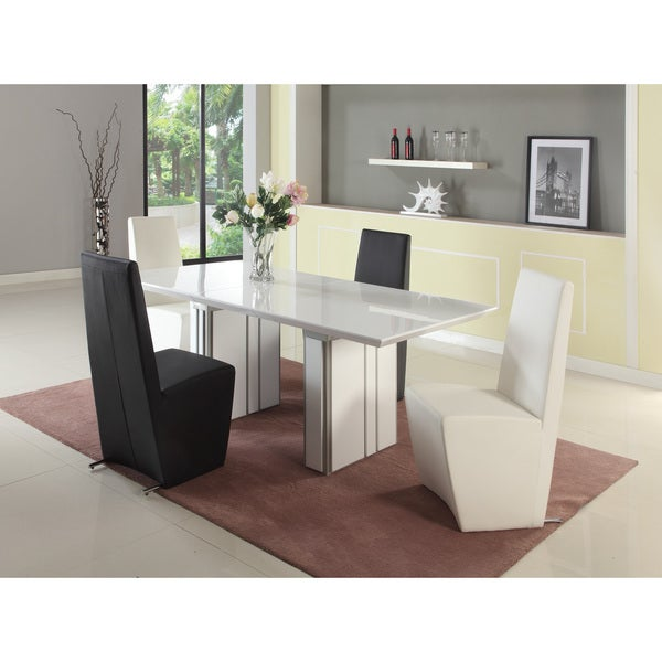 Seasons Gloss White and Grey Extendable Dining Table Free