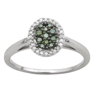 Divina 10k White Gold 5/10ct TDW Green and White Oval Diamond Ring (HI, I3)