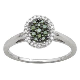 Divina 10k White Gold 5/10ct TDW Green and White Oval Diamond Ring