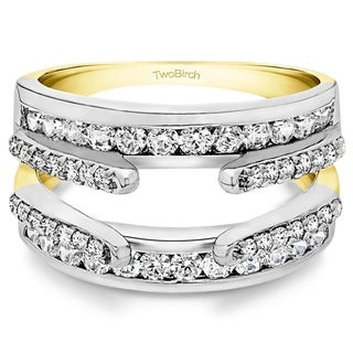 TwoBirch 10k Two-tone Gold 1/2ct TDW White Diamond Double Band Ring Enhancer (G-H, I2-I3)