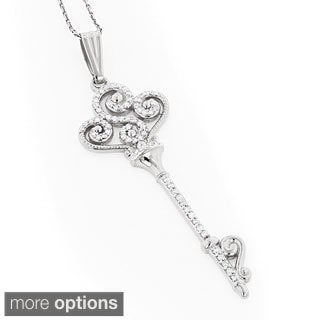 Luxurman 14k Gold 1ct TDW Diamond Key Necklace (G-H, VS1-VS2)