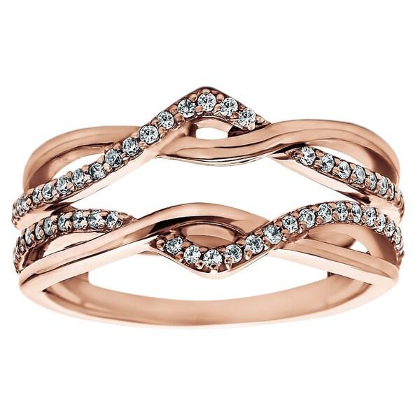 Twobirch 10k Rose Gold 1 2ct Tdw Diamond Infinity Ring