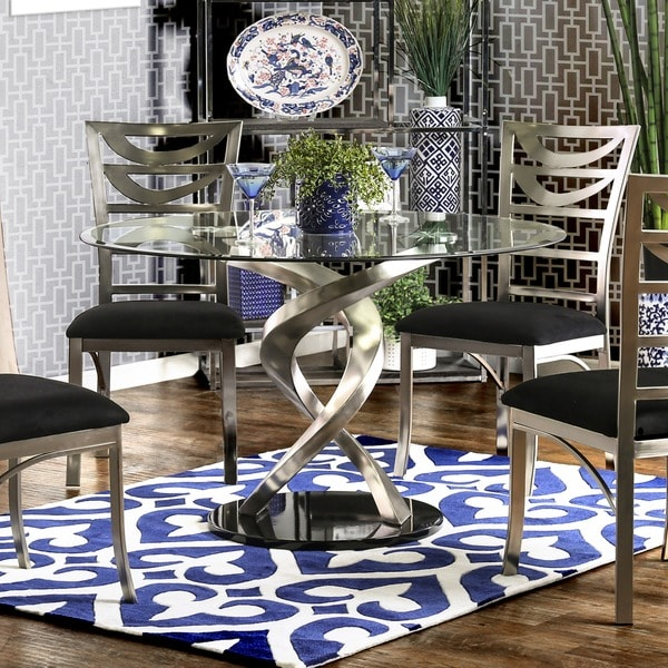 Bon Furniture Of America Sculpture I Contemporary Glass Top Round Dining Table