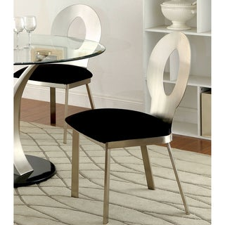 """Furniture of America Sculpture III Contemporary Satin Metal Dining Chair - 17""""W X 21""""D X 36""""H (Seat Ht: 19"""", Seat Dp: 18 1/2"""""""