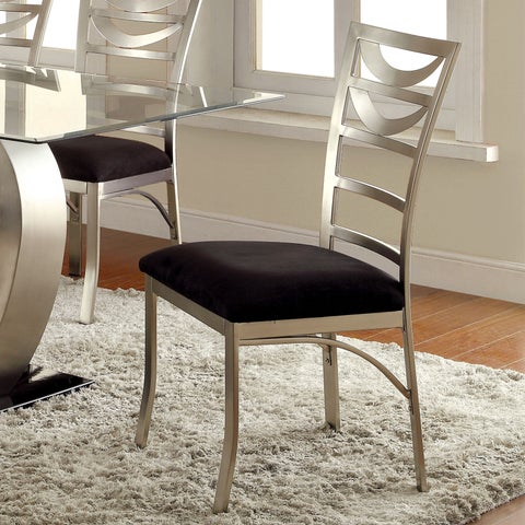 Furniture of America Sculpture I Contemporary Satin Metal Dining Chair (Set of 2)