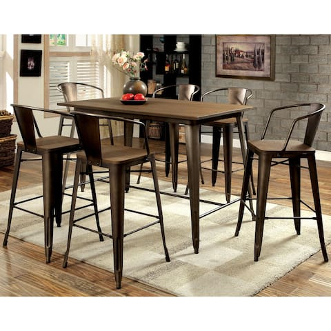 Furniture of America Tripton Industrial Natural Elm 7-piece Counter Height Dining Set