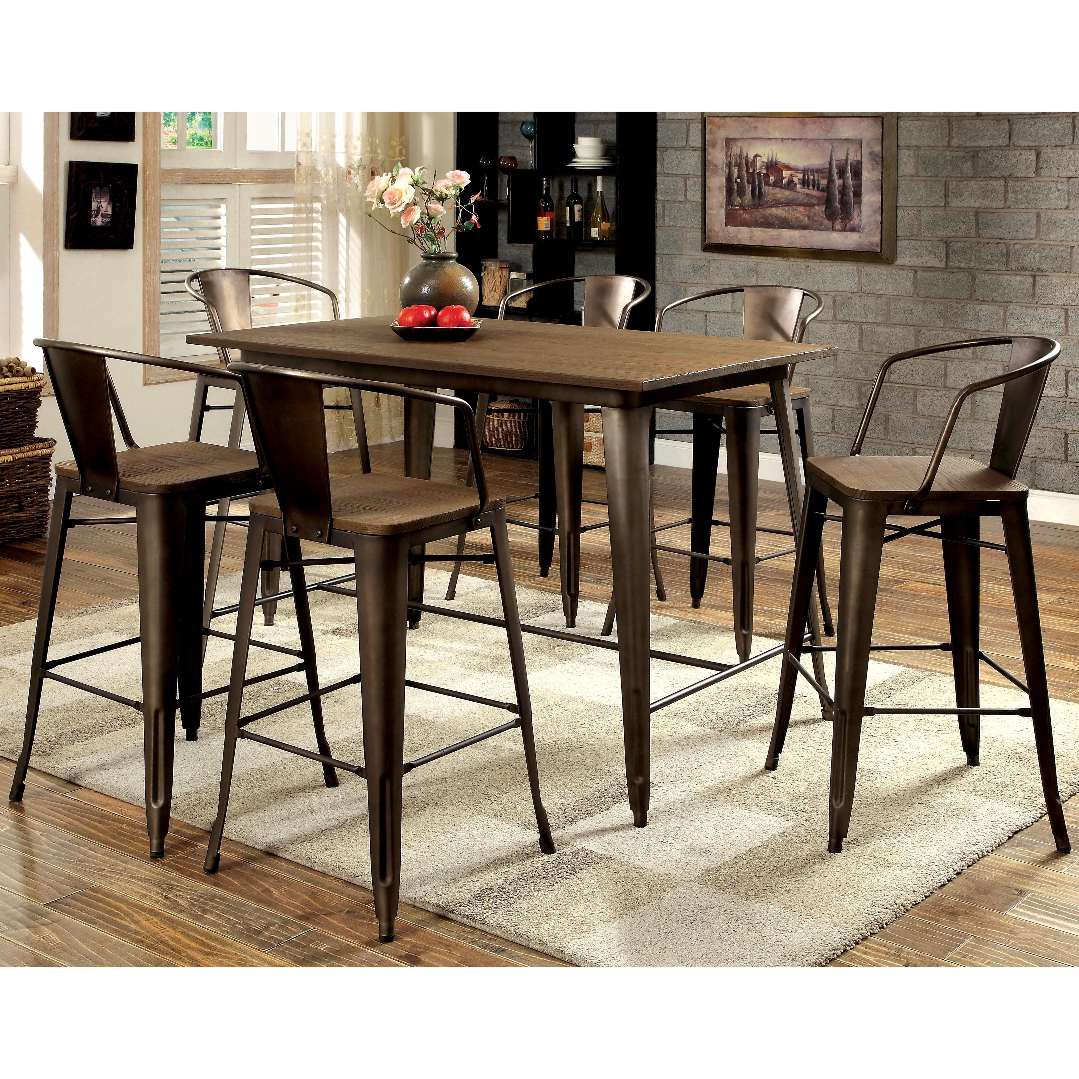 Furniture of America Tripton Industrial 7-Piece Counter H...