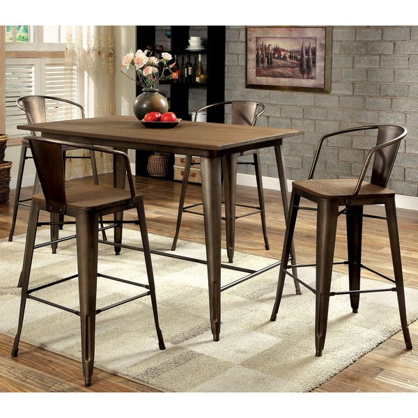 Counter Height Industrial Table : Furniture of America Tripton Industrial 5-Piece Counter Height Dining ...
