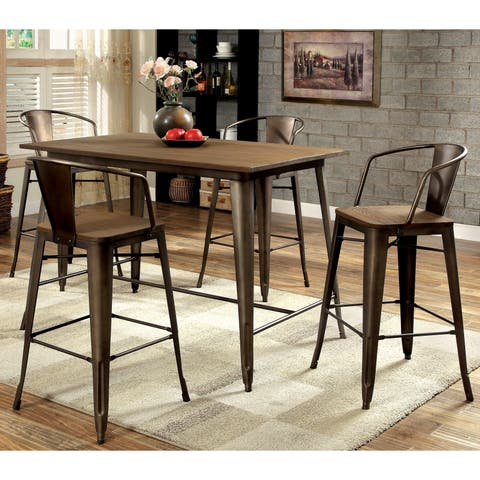 Tripton Contemporary Natural Elm 5-Piece Counter Dining Set by FOA