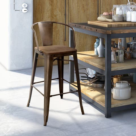 Furniture of America Rish Industrial Solid Wood Counter Height Chair