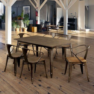 Furniture of America Tripton Industrial Natural Elm 7-piece Dining Set