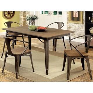 Furniture of America Rish Industrial Brown Metal 5-piece Dining Set