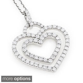 Luxurman 14k Gold 1 1/6ct TDW Diamond Hearts Necklace (H-I, SI1-SI2)
