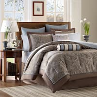 Madison Park Whitman Blue 12-piece King Size Bed in a Bag with Sheet (As Is Item)