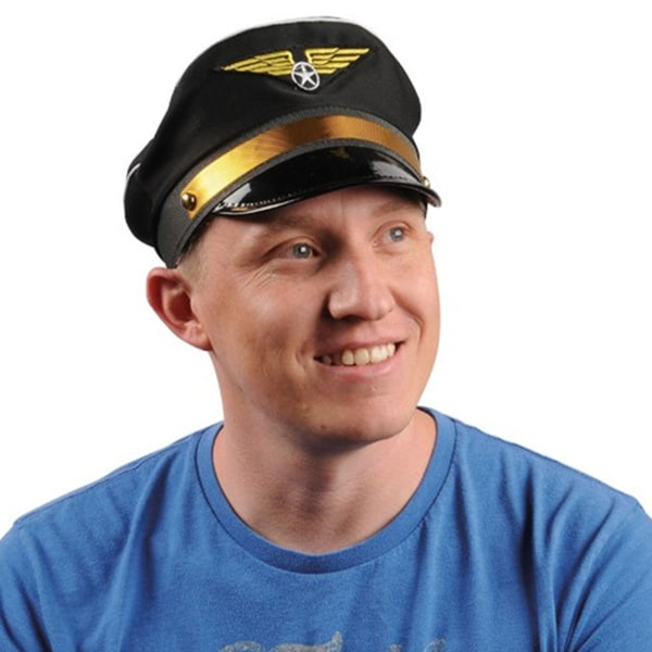 e848ddf598a00 Shop Black Pilot Hat Airplane Captain Flight Airline Costume Cap Wings Adult  - Free Shipping On Orders Over  45 - Overstock - 9992223