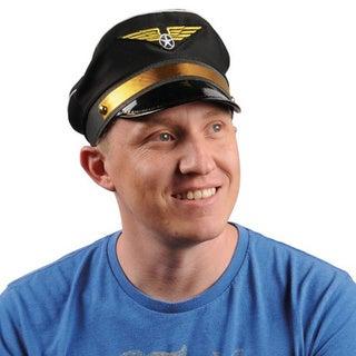 Black Pilot Hat Airplane Captain Flight Airline Costume Cap Wings Adult