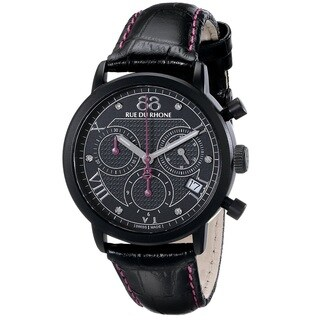 88 Rue du Rhone Women's 87WA130027 'Double 8 Origin' Chronograph Swiss Quartz Black Leather Watch
