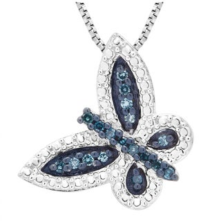 Divina Sterling Silver 1/5ct TDW Blue Diamond Butterfly Pendant