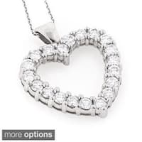 Luxurman 14k Gold 3 1/5ct TDW Diamond Heart Necklace
